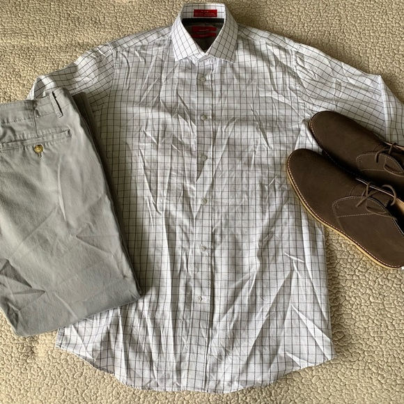 Saks Fifth Avenue Other - Saks Fifth Avenue White with Gray Dress Shirt EUC